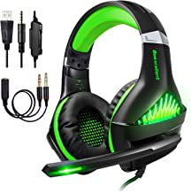 BlueFire Upgraded Professional PS4 Gaming Headset 3.5mm Wired Bass Stereo Noise Isolation Gaming Headphone with Mic and LED Lights for Playstation 4, Xbox one, Laptop, PC (Light Green)