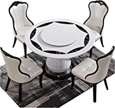 Dining Table, Marble Dining Table and Chair Combination with Turntable Round Dining Table 1 Table + 4 Chairs,160CM Table 1...