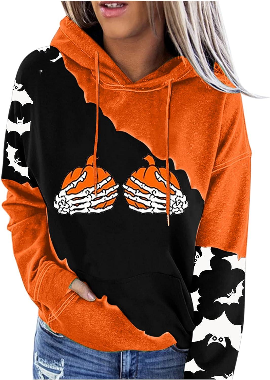Halloween Hoodies for Women,Pumpkin Face Printed Sweatshirts Long Sleeve Hooded Blouse Loose Drawstring Pullover Shirts