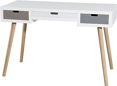 MACABANE Bureau 3 tiroirs, Pin, Multi Couleurs, 112 x 48 x 72,5 cm