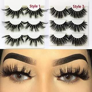 9 Pairs False Eyelashes, 3D Mink Lashes Wispies, Criss-cross Wispy Fluffy, 100% Handmade Eye Makeup, 25mm Fake Lashes