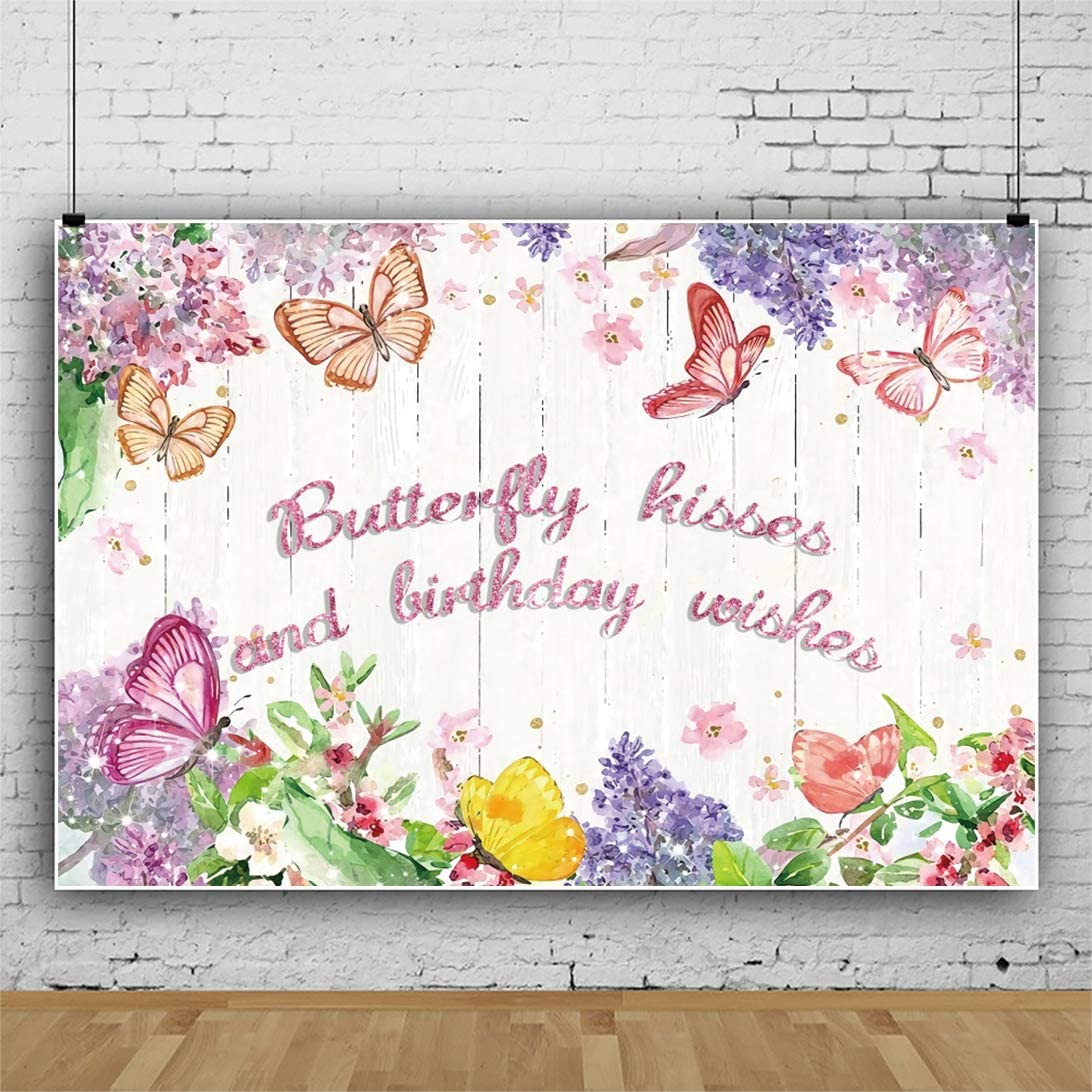 DaShan 6.5x5ft Polyester Flower Butterfly Backdrop for Birthday Party Cake Smash Birthday Girl Women Butterfly Birthday Photography Background Butterfly Party Floral Happy Birthday Youtube Photo Props