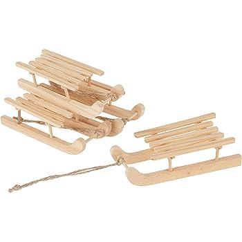ESden Lot de 2 luges en bois /à suspendre pour sapin de No/ël et flocon de neige