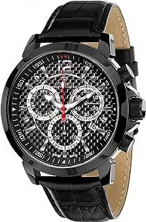 Louis XVI Men's Watch Athos Le Grand le Noir Carbone Swiss Made Chronograph Analog Quartz Leather Black 514