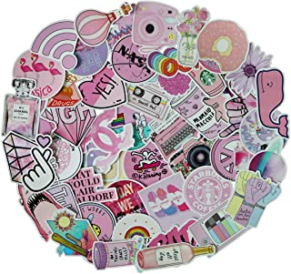 53 Pcs Cute Pink Teen Girl Decal Stickers for Laptop and Water Bottles,Waterproof Durable Trendy Vinyl Laptop Decal Stickers Pack for Teens, Water Bottles, Computer, Travel Case (Pink Lady)