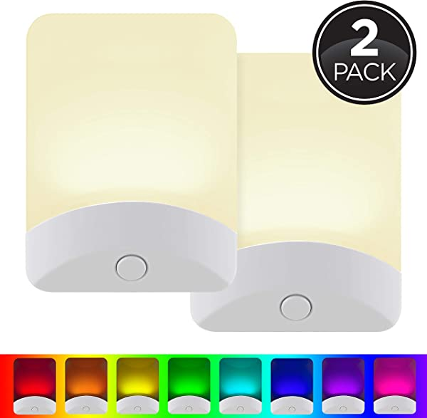 GE Color Changing LED Night Light 2 Pack Plug In Dusk To Dawn Home D Cor For Kids Ideal For Bedroom Bathroom Nursery Kitchen Basement White Base 46722