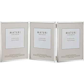 Maturi - Cornice portafoto tripla per foto da 15 x 20 cm, placcata argento