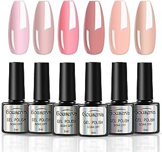Gouserva Gel Nail Polish Kit - 6 Colors Classic Nudes Series Natural Skin Tone, Trendy Pigmented Daily Nail Gel Shades Nai...