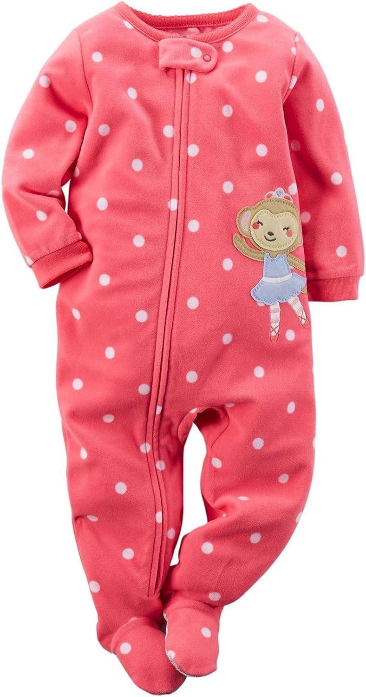 Carter's Girls Long Sleeve 1 Piece Pajama Pink Ballerina Monkey (Dots/Monkey)