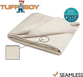Tuff Boy Cotton Canvas Drop Cloth, Seamless, 4 x 12 Feet, 8 oz