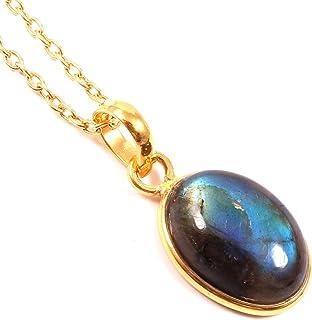 Ratnagarbha Blue Flash Labradorite Necklace, Natural Gemstone Necklace, Oval Gemstone Pendant, Gold Necklace, Stone Pendan...