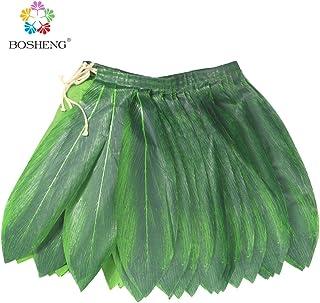 BOSHENG Ti Leaf Hula Skirt Luau Party Accessory Green Short Skirt Toddler Size