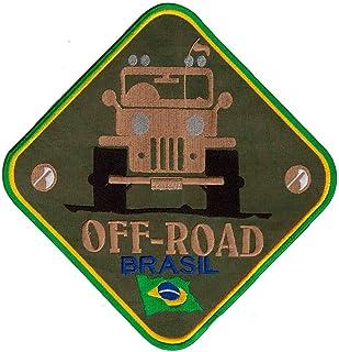 Patch Bordado - Off Road Jipe Marrom Militar Grande AD30031-32G Termocolante Para Aplicar
