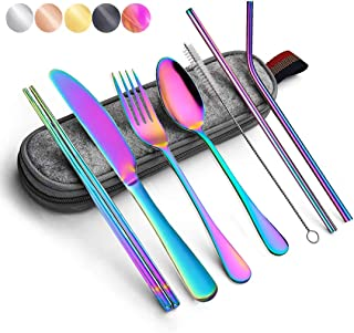 Best Portable Utensils Silverware Flatware set 8-Piece Cutlery set including Knife Fork Spoon Chopsticks Straws Portable bag for Travel Work Camping Picnic Stainless steel Utensil set (Rainbow Full) Review