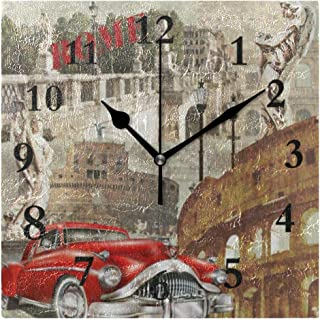 FunnyCustom Vintage Rome Italy Red Car Cityscape Square Wall Clock 7.8 Inch Hanging Clock for Living Room/Kitchen/Bedroom