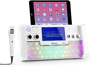"""AUNA DiscoFever LED Edition - Bluetooth-karaokesysteem met 7 """"TFT-scherm, karaokemachine, opnamefunctie, cd-speler en USB-..."""