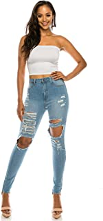 AP Blue Aphrodite High Waisted Jeans for Women - Hig Rise Skinny Womens Distressed Ripped Jeans