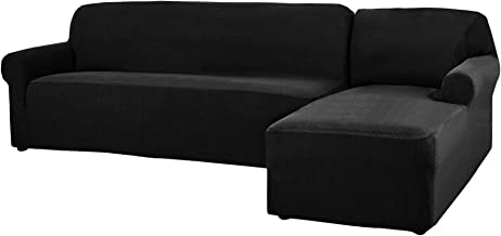 CHUN YI 2 Pieces L-Shaped Jacquard Polyester Stretch Fabric Sectional Sofa Slipcovers (Right Chaise(2 Seats), Black)