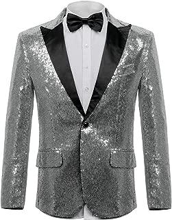 WEEN CHARM Men's Shiny Sequins Dress Suit Jacket Floral Party Dinner Jacket Wedding Blazer Prom Tuxedo