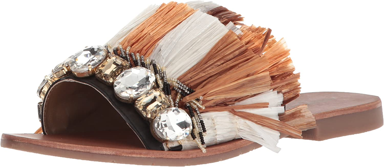Kenneth Cole New York Womens Heron Slide Sandal with Fringe and Jewels Slide Sandal