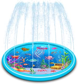 Alpurple 67 Inch Splash Pad for Kids-Wading Pool Kid Sprinkler Toy, Inflatable Outdoor Lawn Splash Mats for Children Infants Toddlers, Boys, Girls