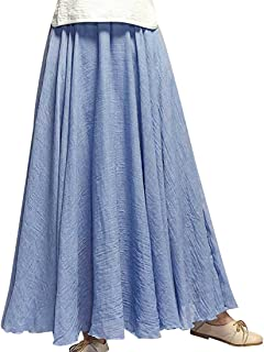 Kafeimali Women Bohemian Cotton Linen Double Layer Elastic Waist Long Maxi Skirt