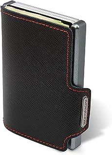 """Mondraghi® Portafoglio Saffiano black stitched   Protezione RFID integrata nella clip portabanconote""""Stop and Go""""   Scocca..."""
