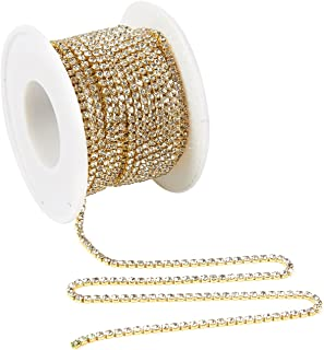 Rhinestone Chain - 11-Yard Crystal Rhinestone Close Chain Trimming Claw Chain, Crystal Bead Chain - Craft and Decoration Chain, Gold, 2mm Crystals, Total 393.7 inches