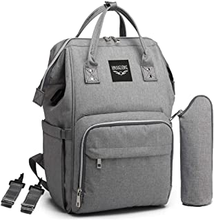 New Diaper Bag Backpack-with USB Charging Port and Stroller Straps, UNISYESONE Multi-Function Waterproof Travel Backpack Nappy Bags for Baby Care, The Most Professional Baby Bags for Mom (Gray)