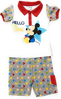 Conjunto Mickey Mouse Disney para bebés algodón - Pijama Mickey Mouse Disney Baby para niños (Rojo, 6 Meses)
