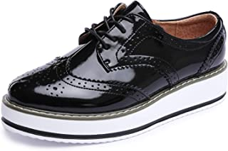 Catata Womens Wingtip Oxfords Lace-up Platform Brogue Shoes Wedding Dress Wedges