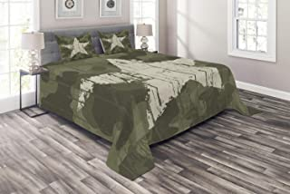 Ambesonne Camouflage Coverlet, Grungy Star on Camoflage Background Hiding Theme Abstract Design, 3 Piece Decorative Quilted Bedspread Set with 2 Pillow Shams, Queen Size, Green Dust