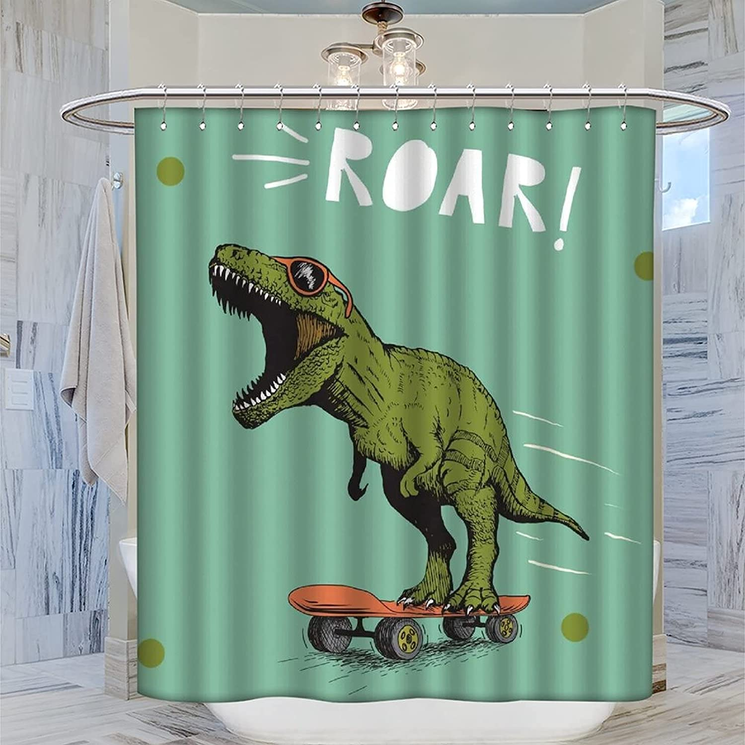 AOKIA Funny Shower Curtain lowest price Cute Skateboards Many popular brands on Dinosaurs Roaring