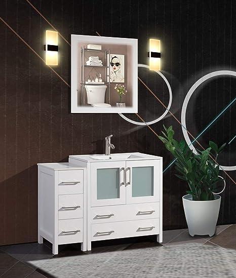 Amazon Com Vanity Art 42 Inch Single Sink Bathroom Vanity Set Free Mirror Compact 2 Door 5 Drawer With White Ceramic Top Perfect Bathroom Organizer White Va3024 42 W Home Kitchen