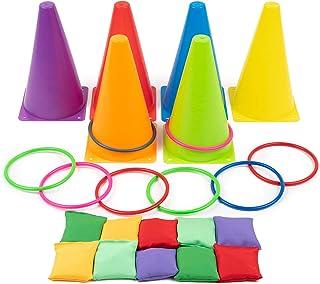 Twiddlers Juegos 3 en 1 de Carnaval al Aire Libre - Ring Toss Game Set, Bolsas de Frijoles Juego de Lanzamiento - para niños y Adultos - Ideal para cumpleaños de Exterior, Fiestas en el jardín.
