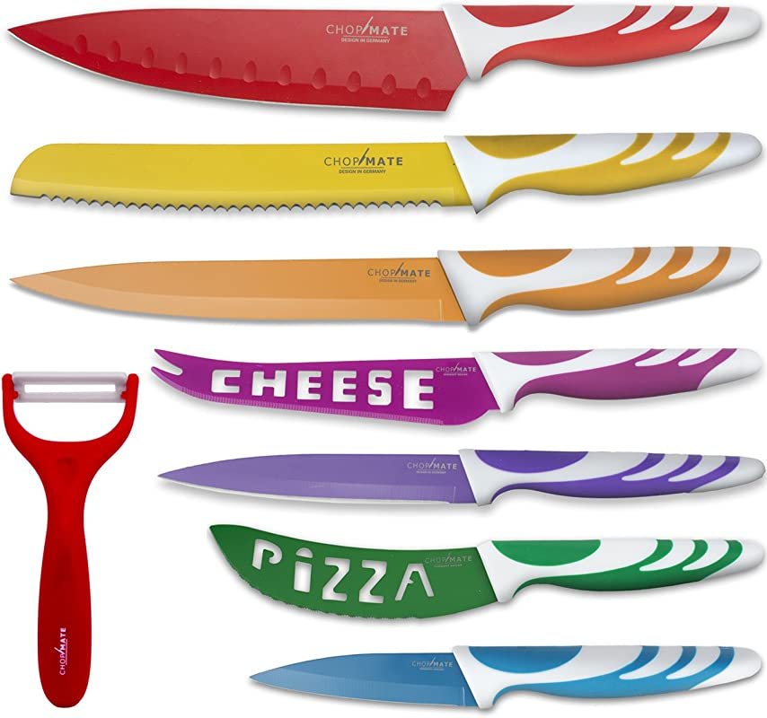 Chopmate Color Stainless Steel Anti Bacterial Non Stick Ceramic Coated 8 Piece Kitchen Knife Set
