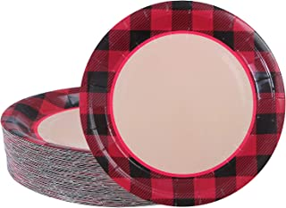 Aneco 60 Pieces Red and Black Plaid Paper Plates Disposable Round Plates Dinnerware Plates Party Supplies for Party, 9 Inches