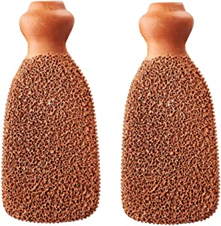 Premium Pumice Stone for Feet Unique 2-Sided Terra Cotta Callus Remover Extremely Durable Foot Scrubber Best Foot Care Pedicure Tool to Exfoliate Hard Dry Skin (Set of 2)