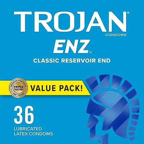 TROJAN ENZ Condoms for Contraception Plus STI Protection, 36 Count