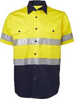 LANTERN FISH Hi Vis Shirts for Men Protective Safety Workwear with 3M ScotchliteTM Reflective Tape 100% Cotton Short Sleeve