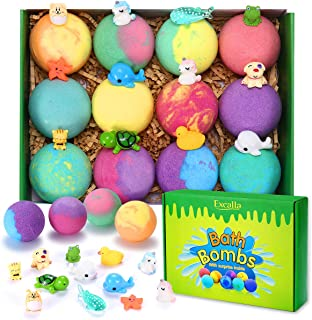 Bath Bombs for Kids with Surprise Toys Inside - Handmade 12 Gift Set for Boys Girls, Bubble Bath Fizzies Vegan Essential O...