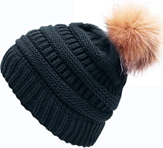 AONTUS Winter Hats for Womens Knit Slouchy Skullies Beanies Ski Caps with Faux Fur Pom Pom Bobble