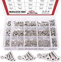 Hilitchi 510pcs M3 M4 M5 Stainless Steel Flat Head Hex Socket Head Cap Bolts Screws Nuts Assortment Kit - 304 Stainless Steel