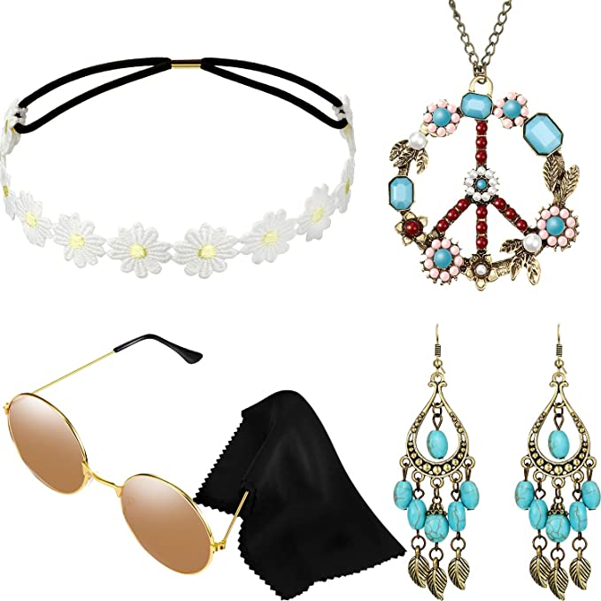 60s -70s Jewelry – Necklaces, Earrings, Rings, Bracelets Hicarer Hippie Costume Set Include Sunglasses Headband Peace Sign Necklace and Earring (Turquoise Style)  AT vintagedancer.com