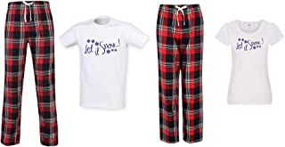60 Second Makeover Limited Let It Snow Christmas Couples Matching Pyjama Tartan Set Couples Twinning Family