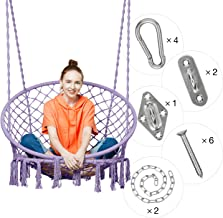 Greenstell Hammock Chair Macrame Swing with Hanging Kits, Hanging Cotton Rope Swing Chair, Comfortable Sturdy Hanging Chairs for Indoor, Outdoor, Home, Patio, Yard, Garden, 330LBS Capacity (Purple)