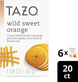 Tazo Wild Sweet Orange Herbal Tea Filterbags 20 ct, Pack of 6