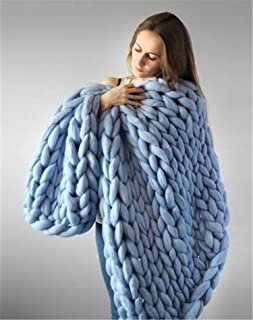 Handmade Blanket Wool Blend Arm Knit Throw Super Large Knitting Yarn Pet Bed Chair Sofa Yoga Mat Rug Decor,Blue