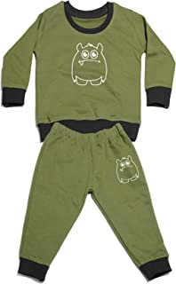 AmericanElm Baby's Stylish Olive Printed Cotton Tracksuit, Unisex Top and Bottom Sets (Olive_SK-PTRKST-OC1WHT_6-9 M)