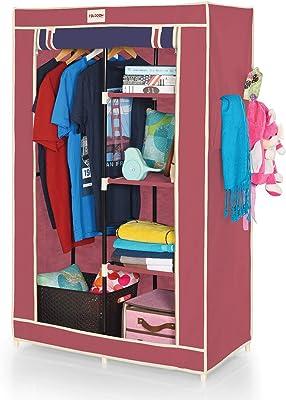 FOLDDON FD220 Dual Color Foldable Wardrobe Single Door / 5 Shelves / 1 Hanger - Beige & Navy Blue (Maroon & Navy Blue)